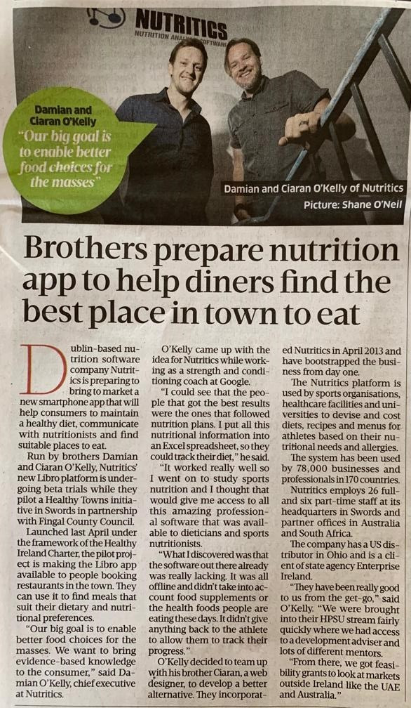 nutritics business post article
