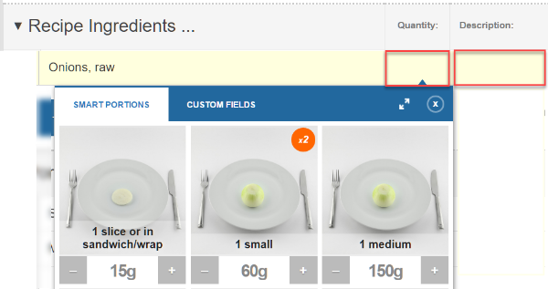 Recipe analysis product development nutrition analysis tutorials 4 click the quantity box to open the portion entry box choose one of the portion size options suggested or enter your ingredient weight directly in any forumfinder Choice Image