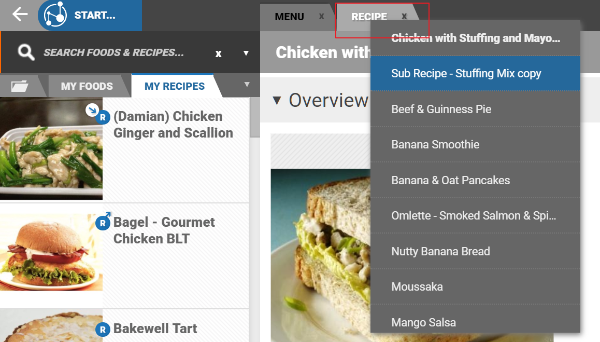 Getting started nutrition analysis tutorials nutritics user guide such as duplicating recipes foods and clients and various other shortcuts right clicking on a tab displays a history of items open in that tab forumfinder Choice Image