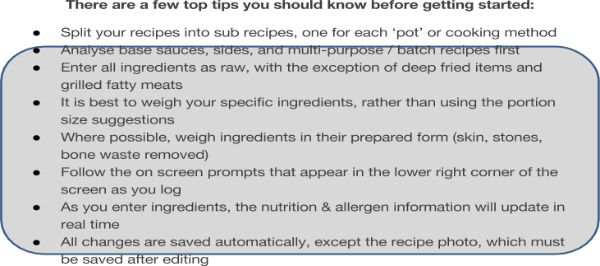 Recipe analysis product development nutrition analysis tutorials recipes can also be used for the production of nutrition labels digital menu board displays and allergen reports forumfinder Choice Image