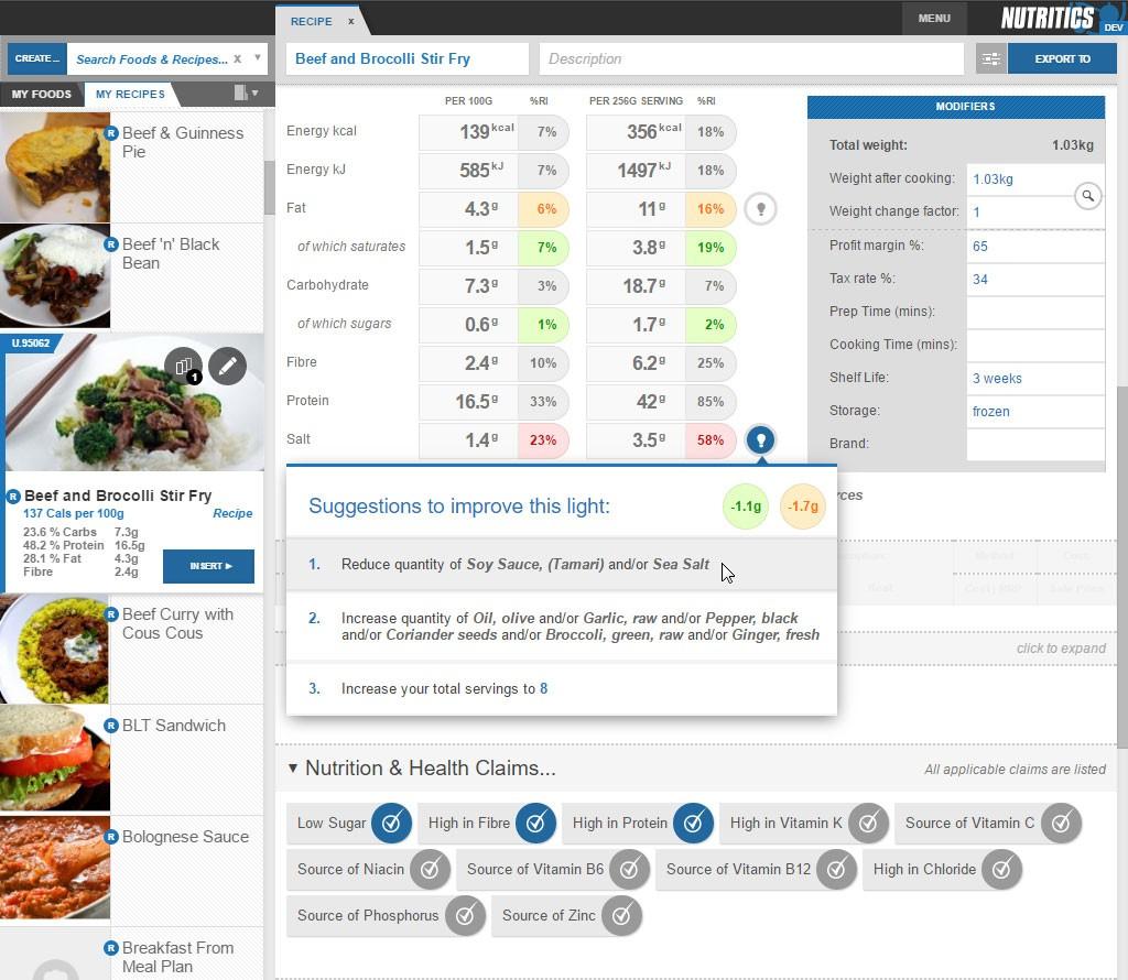 Nutritics 4.3 Whats New?